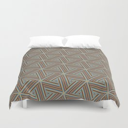 Brown and Blue Op Art Triangles Duvet Cover