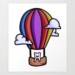 Cat balloon ride sky clouds children gift Art Print