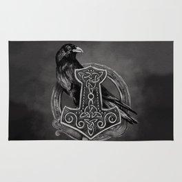 Mjolnir - The hammer of Thor and raven Rug