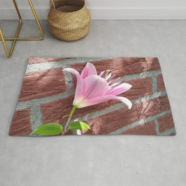 Pretty Pink Lily on Brick Wall Rug