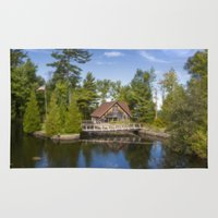 michigan Area & Throw Rugs featuring Michigan Cottage by davehare