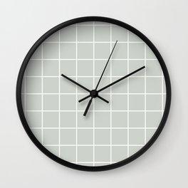 Gray Grey Grid Sea Salt Wall Clock