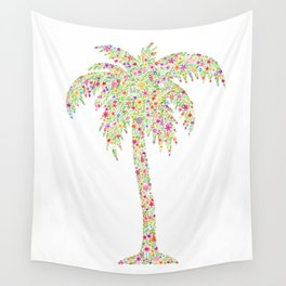 Palm Tree Floral Watercolor Wall Tapestry