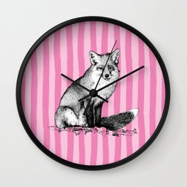 Vintage Fox on Preppy Pink Cabana Stripes Wall Clock