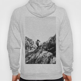 Boys Adventure | Rustic Camping Kid Red Rocks Climbing Explorer Black and White Nursery Photograph Hoody