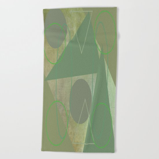Subdued Green Geometric Abstract Beach Towel
