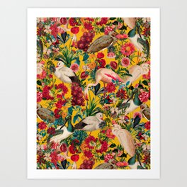 FLORAL AND BIRDS XVIII Art Print