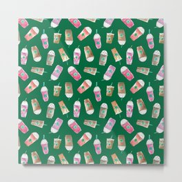 Coffee Crazy Toss in Green Metal Print