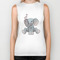 baby elephant Biker Tanks featuring Baby Elephant by Beryl Kruger