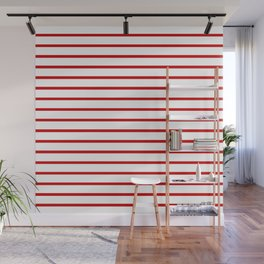 Horizontal Red Stripes Pattern Wall Mural