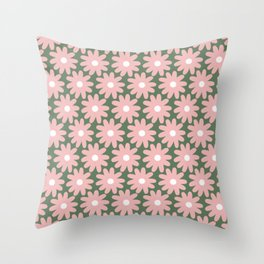 Crayon Flowers Smudgy Floral Pattern in Pink and White on Green Throw Pillow