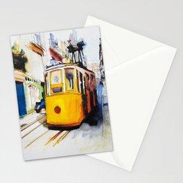 Lisbon Yellow tram by wimvandewege Stationery Cards