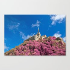 Mont Saint-Michel Abbey - Pink Fantasy Canvas Print