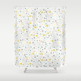 Floral Fancy in Sunshine and Sky Shower Curtain