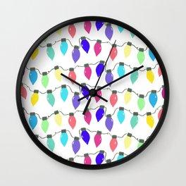 Rainbow Christmas Light Bulbs Wall Clock