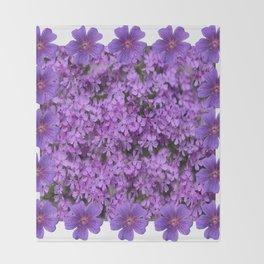 WHITE  LILAC PURPLE SPRING PHLOX FLOWERS GARDEN Throw Blanket