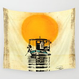 Sunset Boat Silhouette Wall Tapestry