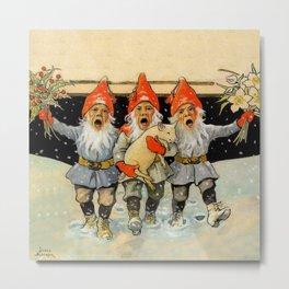 """Caroling Gnomes"" by Jenny Nystrom Metal Print"