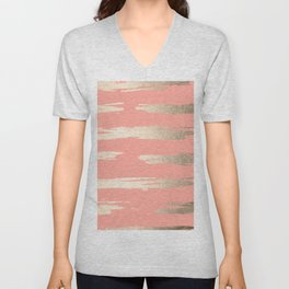 Simply Brushed Stripe in White Gold Sands on Salmon Pink Unisex V-Neck