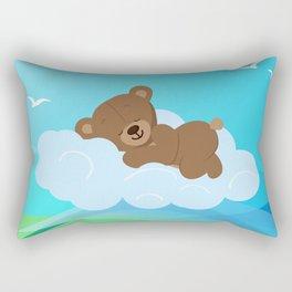 Teddy Bear & clouds , Nursery Rectangular Pillow