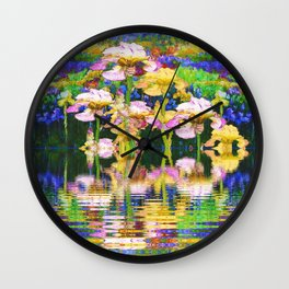 YELLOW IRIS WATER GARDEN REFLECTIONS Wall Clock