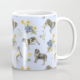 Saint Bernard Dogs & Alpine Flowers - Blue Coffee Mug