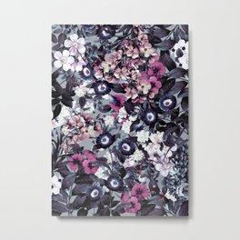 Forest Night Garden Gray Metal Print