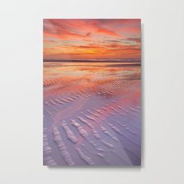 II - Beautiful sunset and reflections on the beach at low tide Metal Print