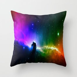 Rainbow Galaxy Throw Pillow