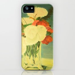 flowers in a glass vase . Oil painting . art iPhone Case