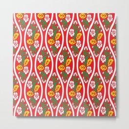 Japanese Nishiki Flower Seamless Pattern Symbols Metal Print