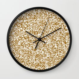 Tiny Spots - White and Golden Brown Wall Clock
