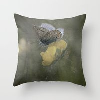 matty healy Throw Pillows featuring Blue butterfly on blossom by UtArt