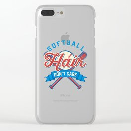 Funny Softball Hair Don't Care Baseball Sport Gift Clear iPhone Case
