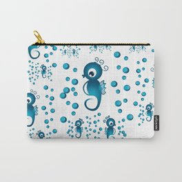 seahorses pattern in blue Carry-All Pouch