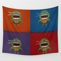 turtles Wall Tapestries featuring Screaming Turtles by That Design Bastard