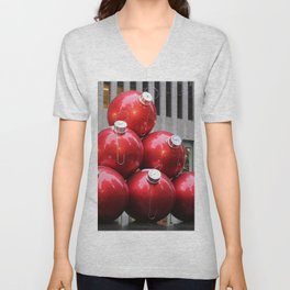 Huge Christmas Ball Ornaments in NYC Unisex V-Neck