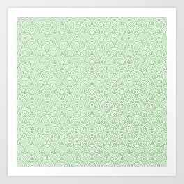 Mint Concentric Circle Pattern Art Print