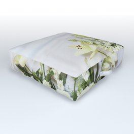 Green and Cream Flowers Outdoor Floor Cushion