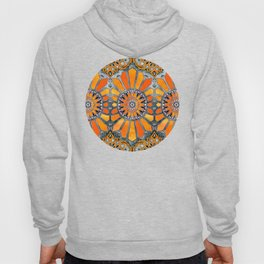 Celebrating the 70's - tangerine orange watercolor on grey Hoody