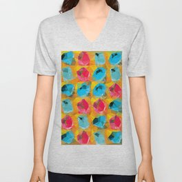 geometric polygon abstract pattern in blue orange red Unisex V-Neck