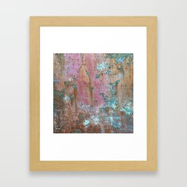 Abstract turquoise flowers on colorful rusty background Framed Art Print