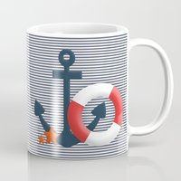 nautical Mugs featuring Nautical  by Miracle