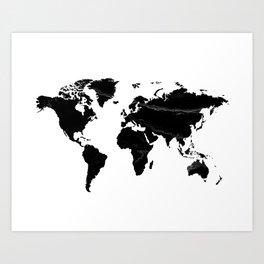 World map, Marble, Scandinavian, Modern art, Art, Minimal, Wall art Print Art Print