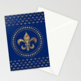Fleur-de-lis - Gold and Royal Blue Stationery Cards