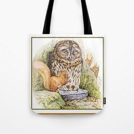 Squirrels tease a sleeping Owl Tote Bag