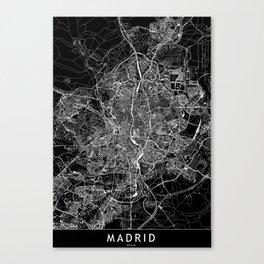 Madrid Black Map Canvas Print