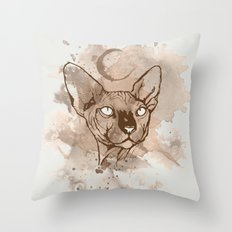 Watercolor Sphynx (Sepia/Coffee stain) Throw Pillow