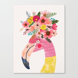 Pink flamingo with flowers on head Canvas Print