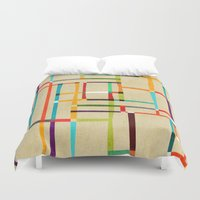 mondrian Duvet Covers featuring The map (after Mondrian) by Picomodi